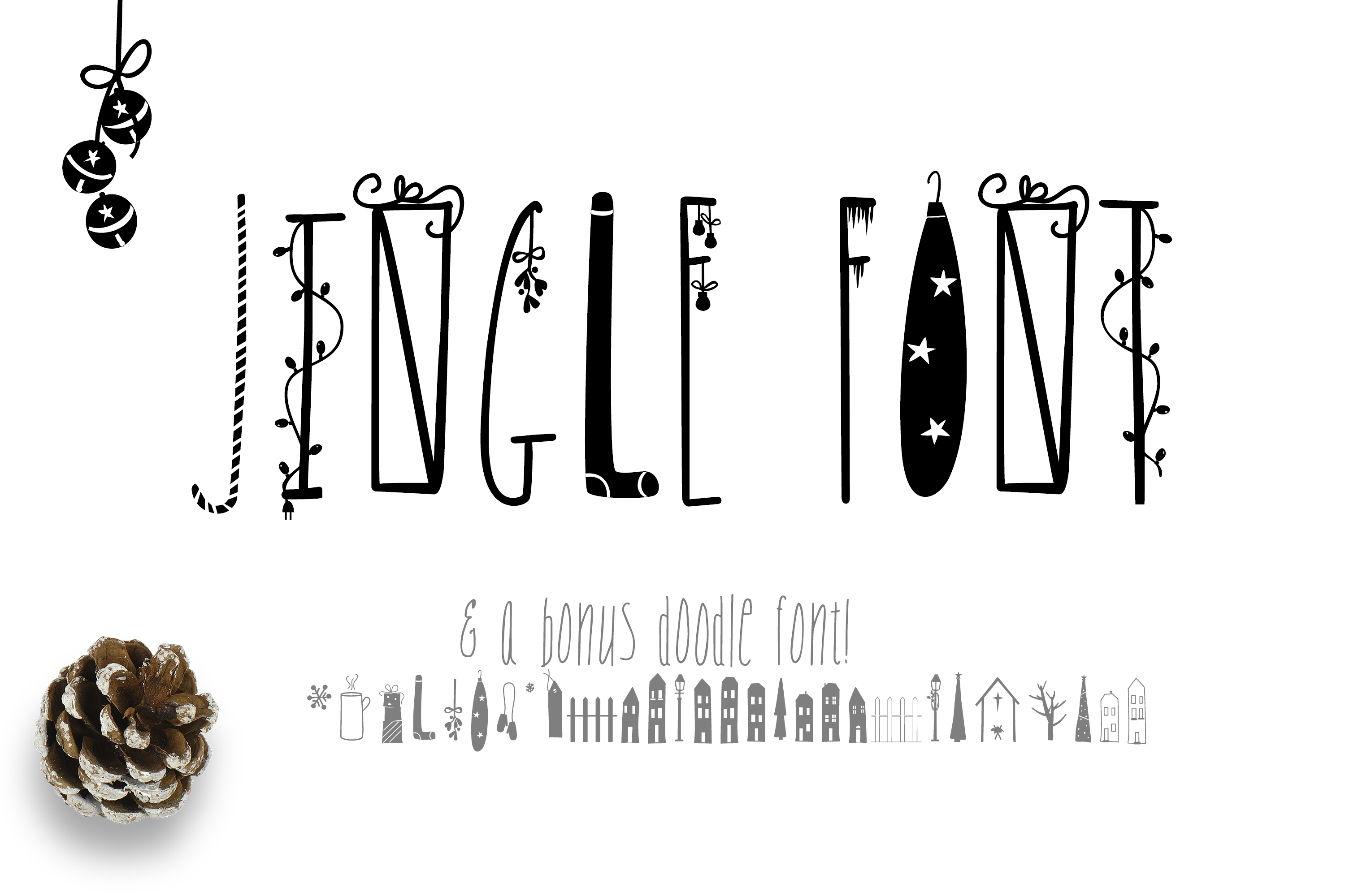 JINGLE FONT - a Christmas Typeface with Bonus DOODLES example image 1