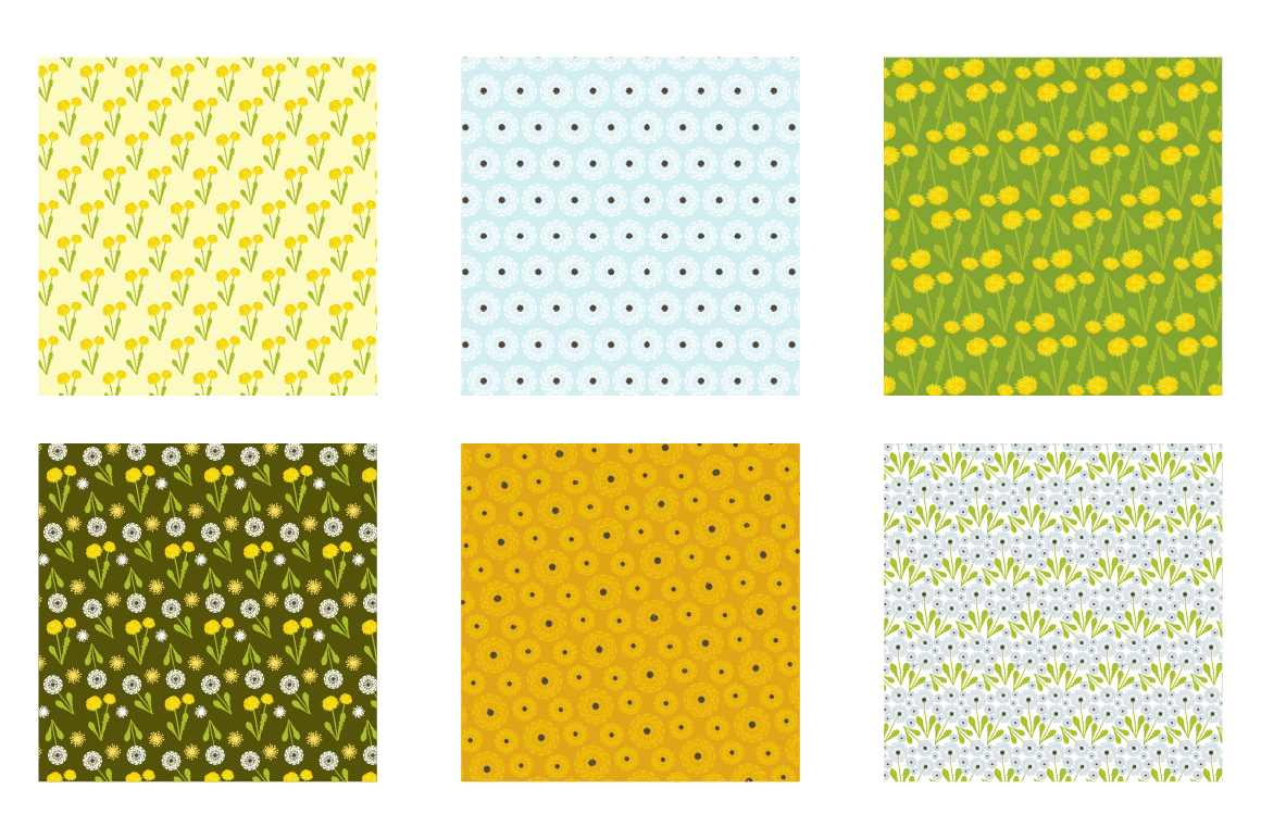 Dandelion Field Pattern collection, vector ai, eps and jpeg example image 3