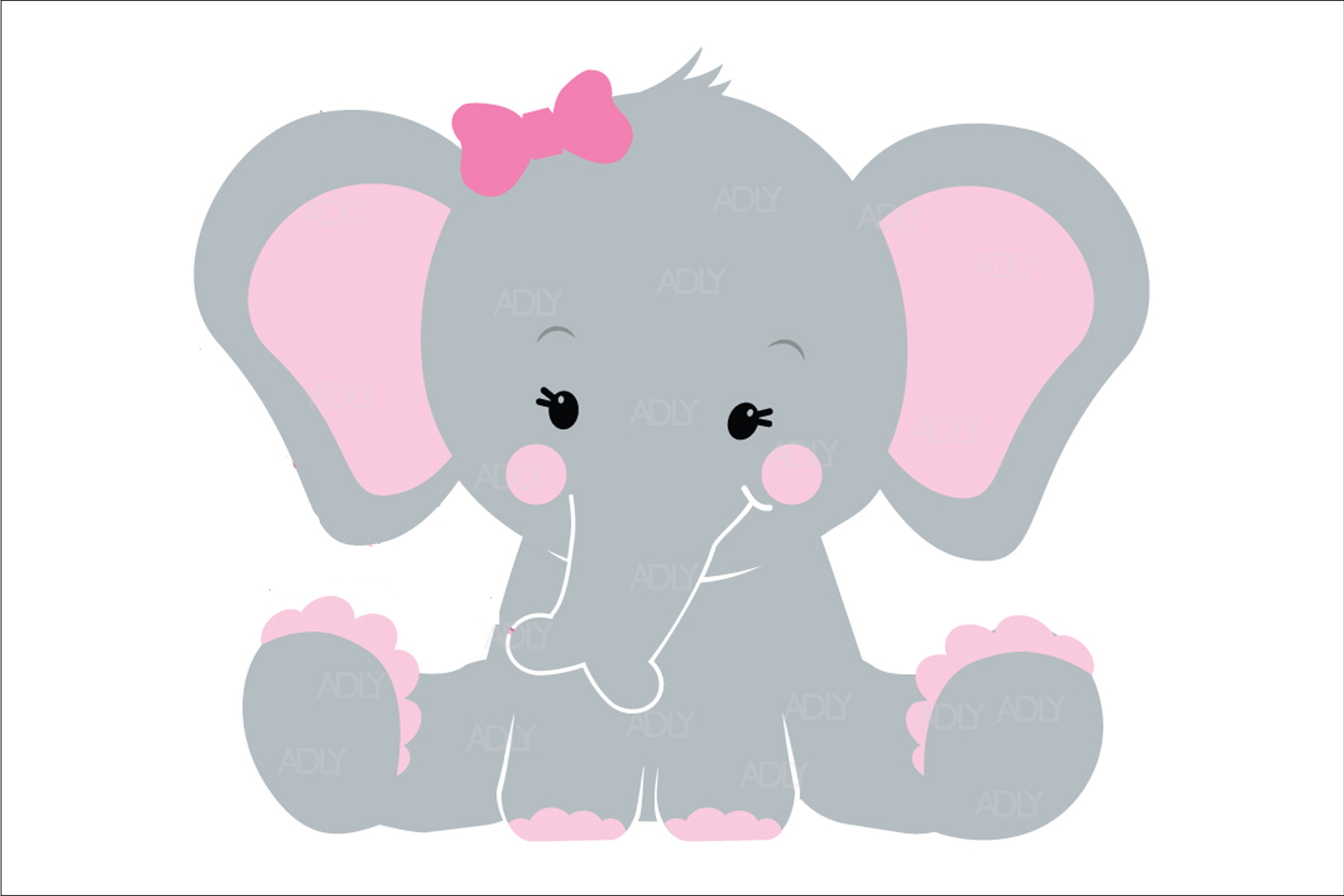 Cute Baby Boy Elephant with Pink Ears in Vector Format ...