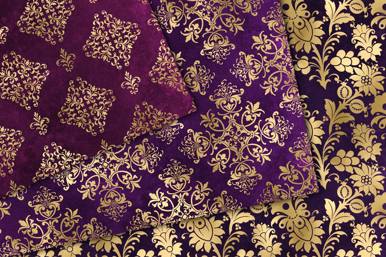Purple and Gold Damask Digital Paper (329612) | Patterns