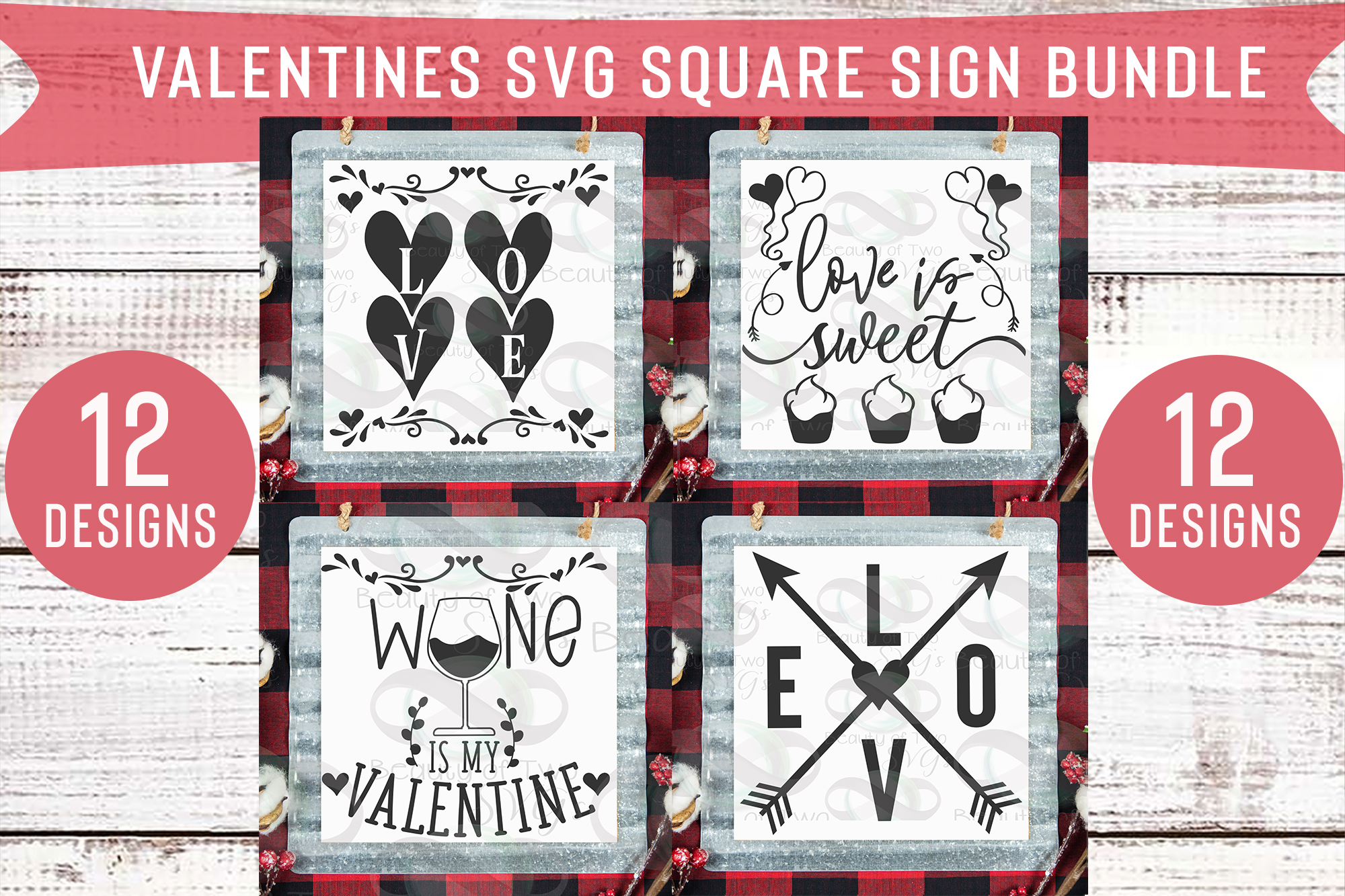 Valentines Square Svg Sign Bundle, 12 svg Valentines Designs example image 4