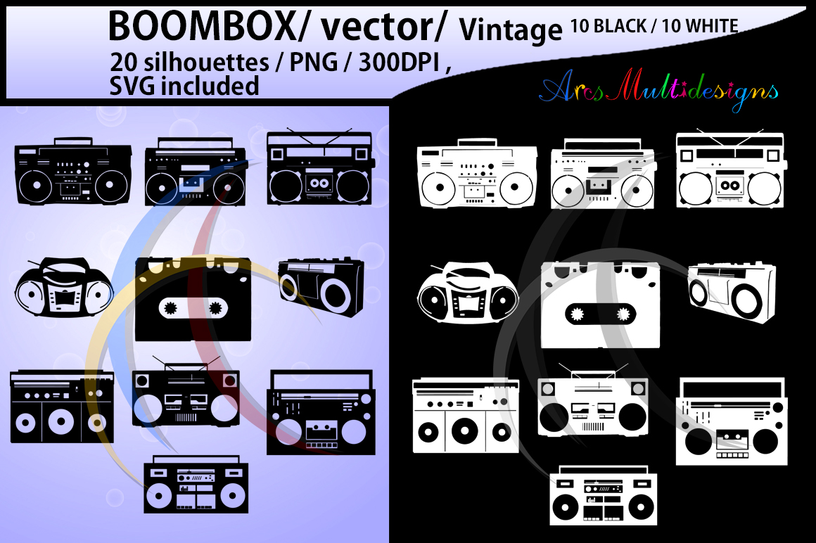 Boombox silhouette svg / 10B + 10W Boombox / Boombox digital clipart / vintage silhouette / SVG / tape recorder / vector example image 1