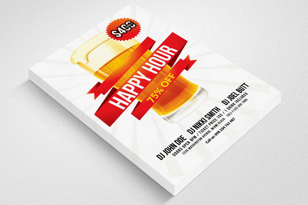 Happy Hour Flyer Template 03 example image 3