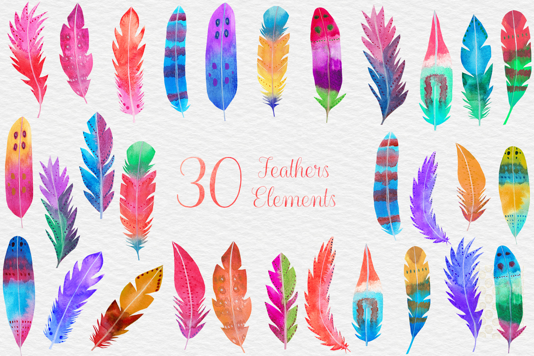 Watercolor Feathers Clipart, Watercolor Feather Illustration example image 2