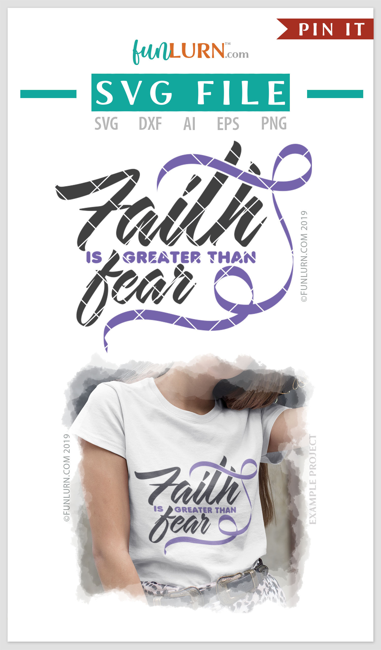 Faith is Greater Than Fear Lilac Ribbon SVG Cut File example image 4