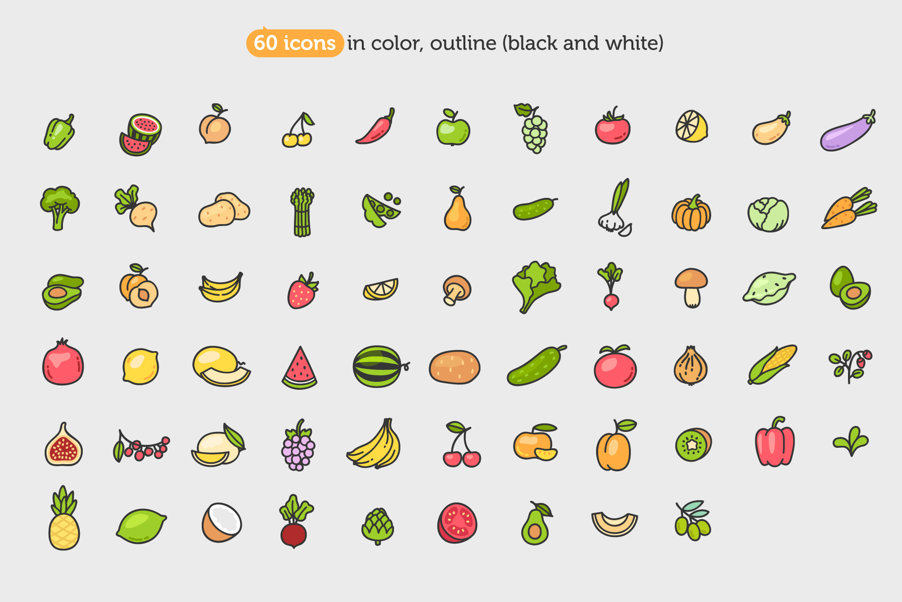 Fruits&Vegetables Icon Set example image 2