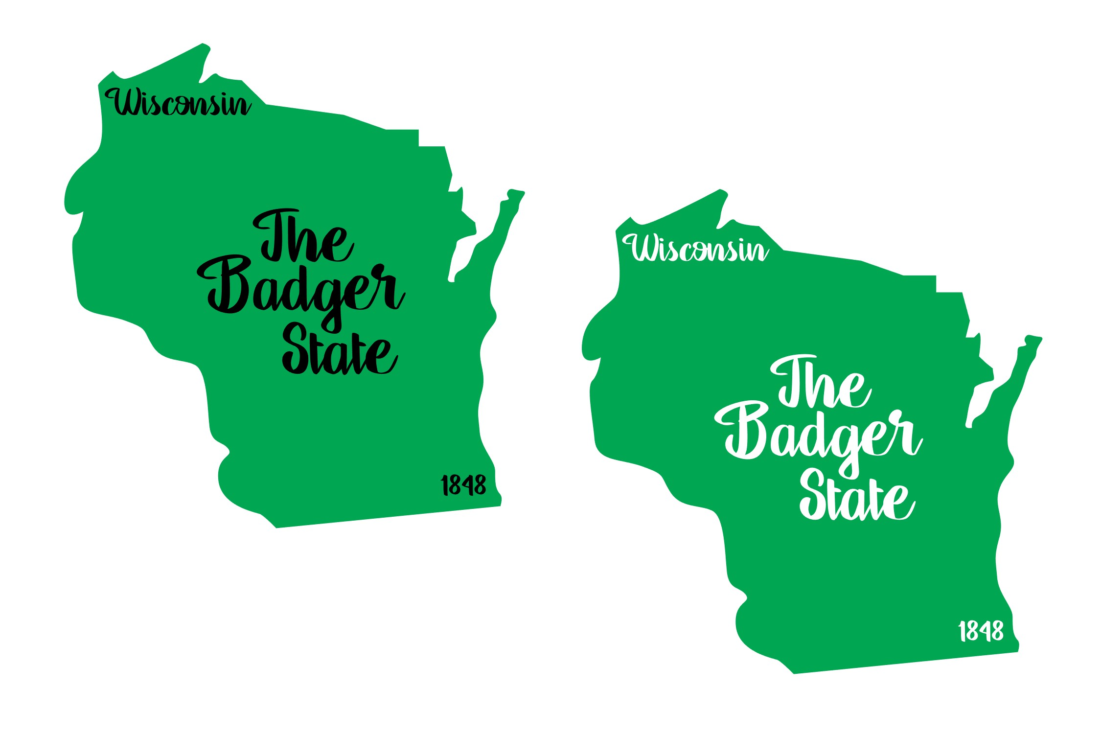 Wisconsin - State Nickname & EST Year - 2 Files - SVG PNG example image 2