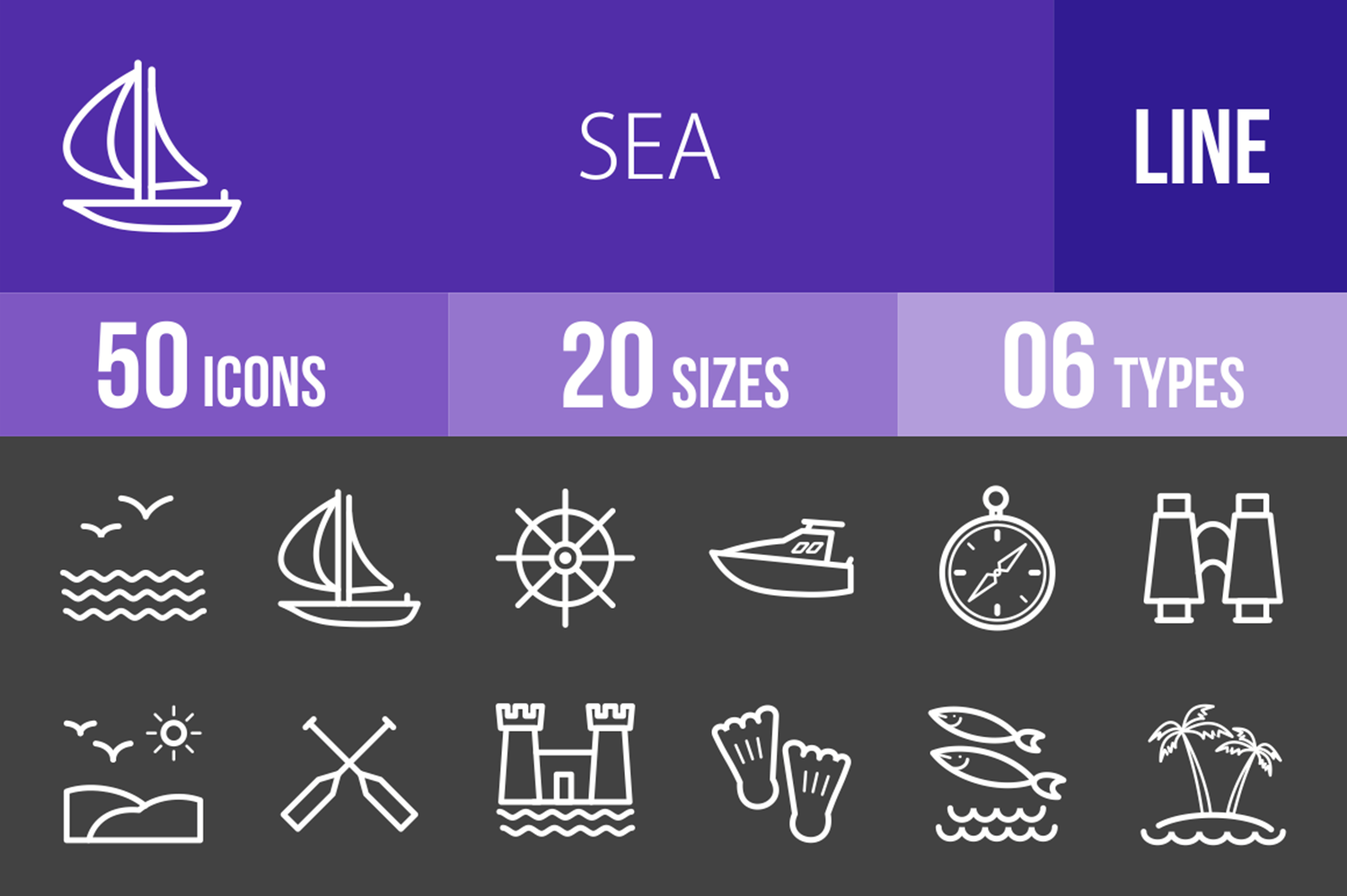 50 Sea Line Inverted Icons example image 1