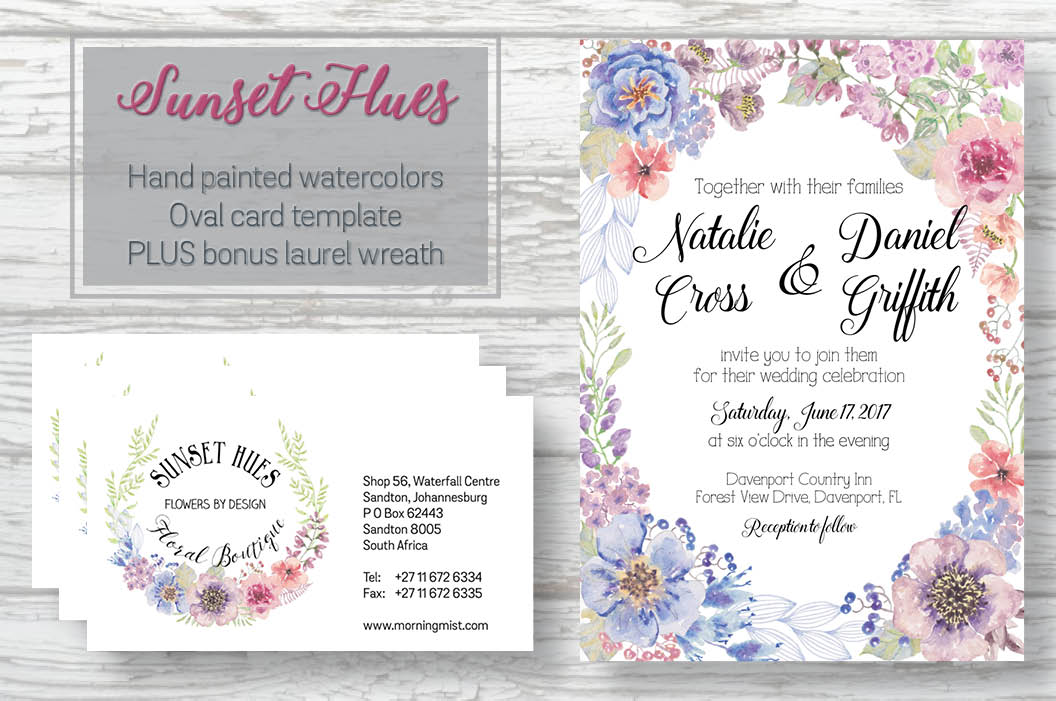 Oval card template in sunset hues example image 1