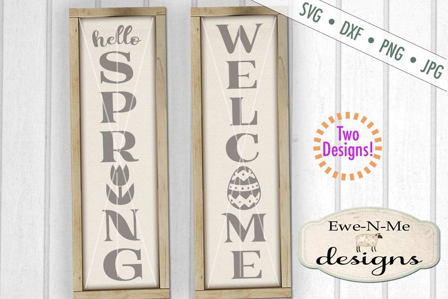 Hello Spring Welcome Easter Porch Sign SVG DXF Cut File example image 1