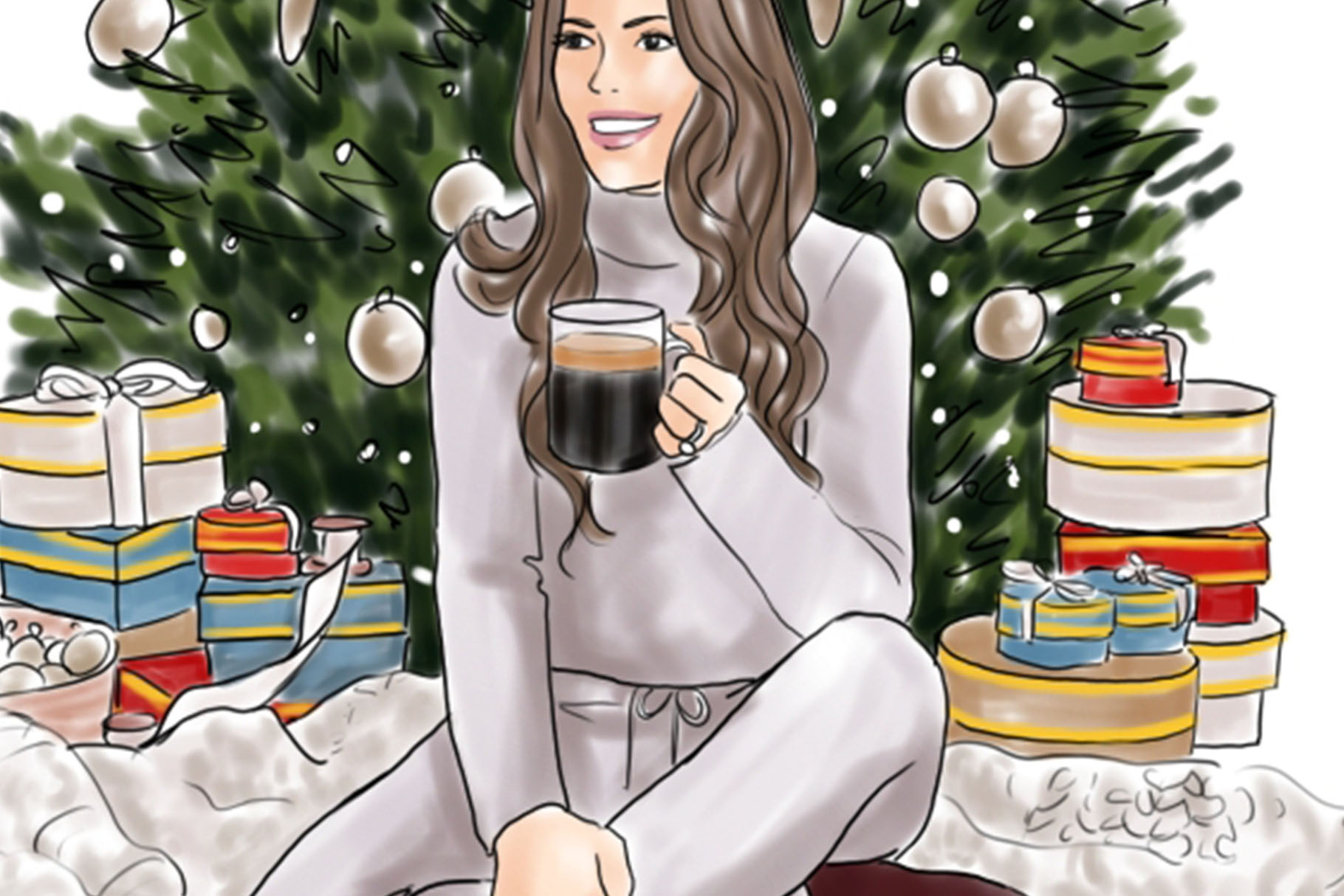 Fashion illustration - Christmas Girl 6 - Light Skin example image 3