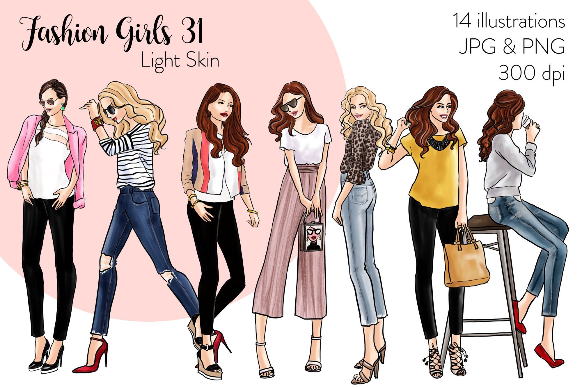 Fashion illustration clipart - Fashion Girls 31 - Light Skin example image 1