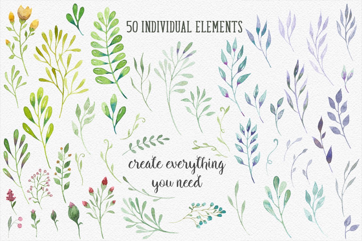 Watercolor floral design resources example image 2