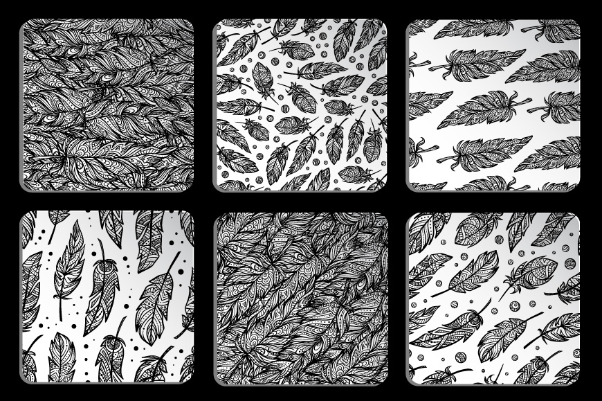Black and white seamless patterns set example image 3