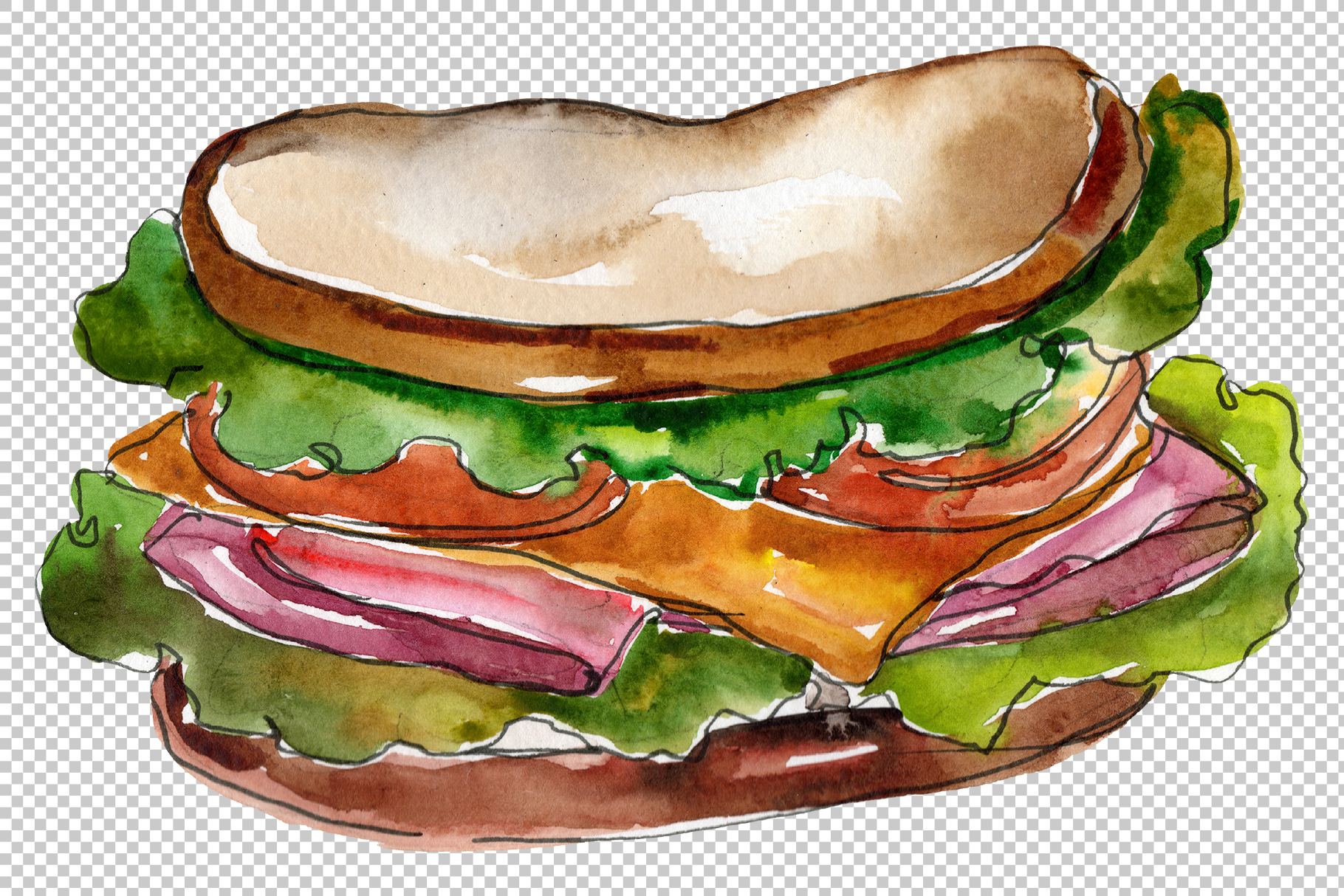 Sandwich sausage Watercolor png example image 4
