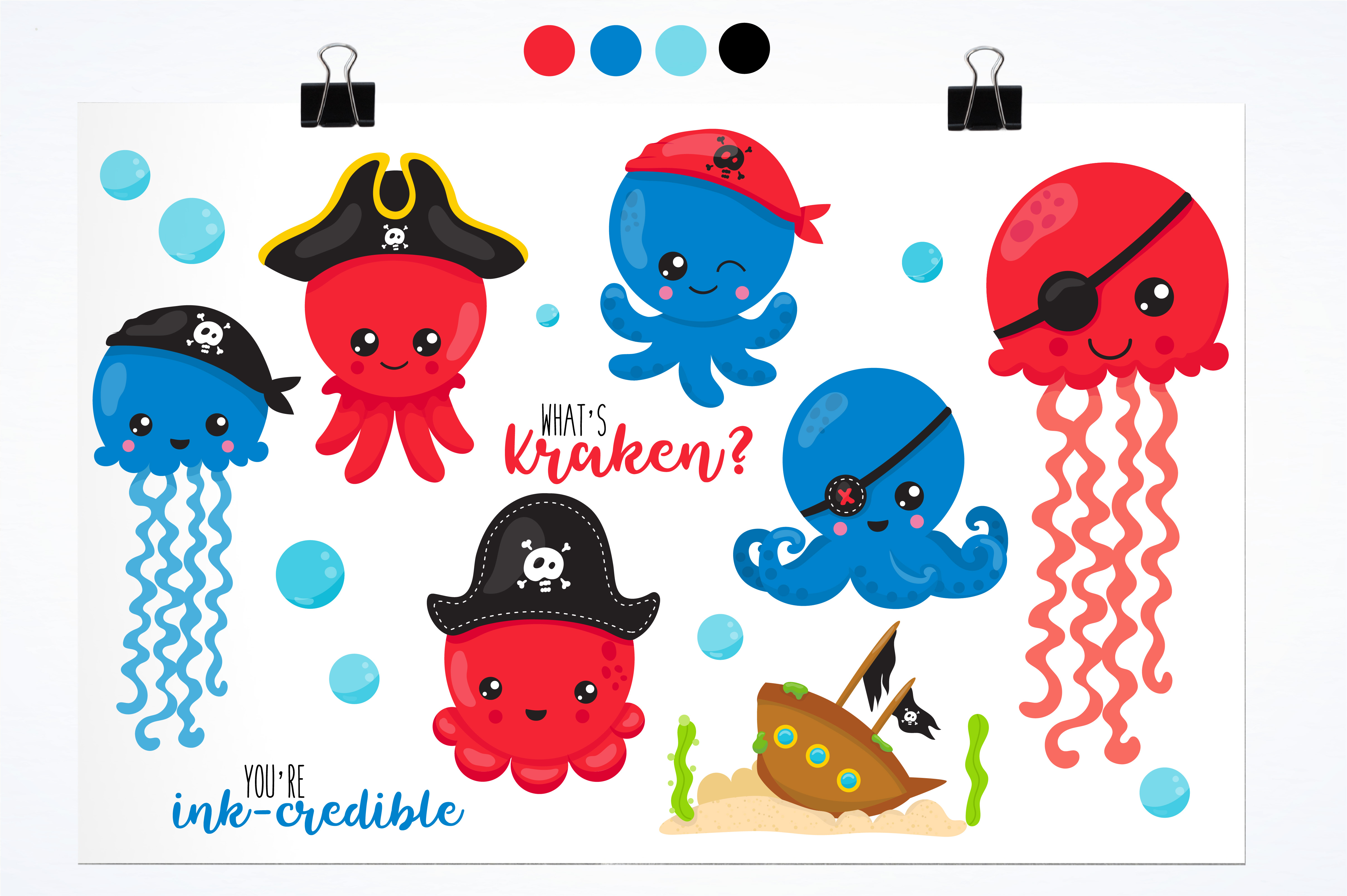 Pirate octopus graphics and illustrations example image 2