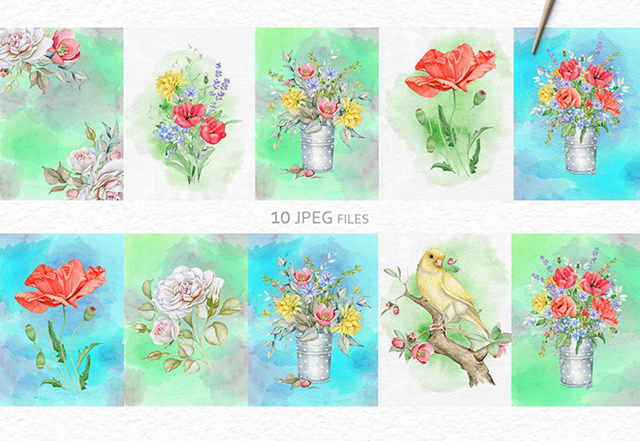 15%OFF. Watercolor Floral Collection example image 17