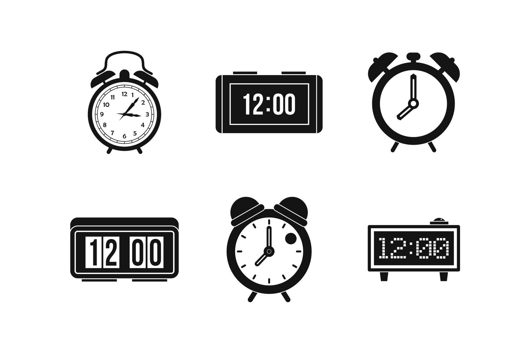 Alarm clock icon set, simple style example image 1