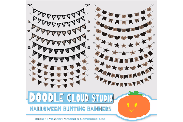 Halloween Gothic Bunting Banners Cliparts Pack, Halloween Party Vectors, Transparent Background, Instant Download Personal & Commercial Use example image 2