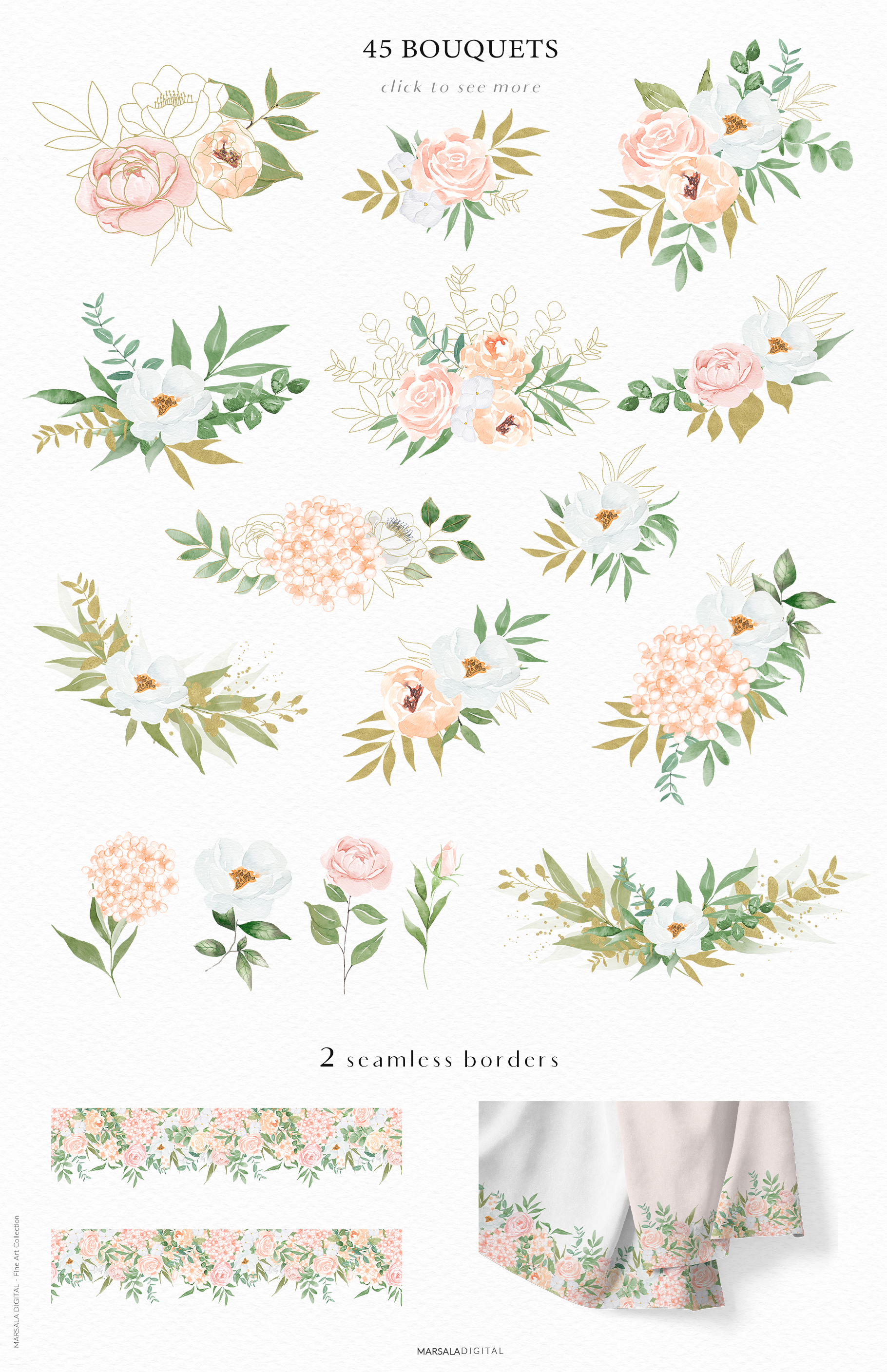 Watercolor Flowers Watercolor Florals Peach & White example image 3
