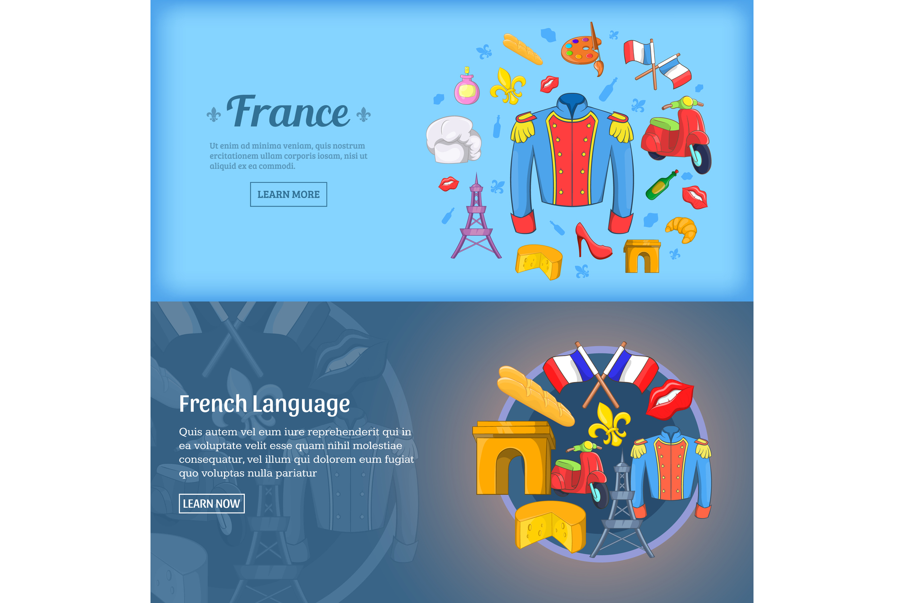 France banner set template, cartoon style example image 1