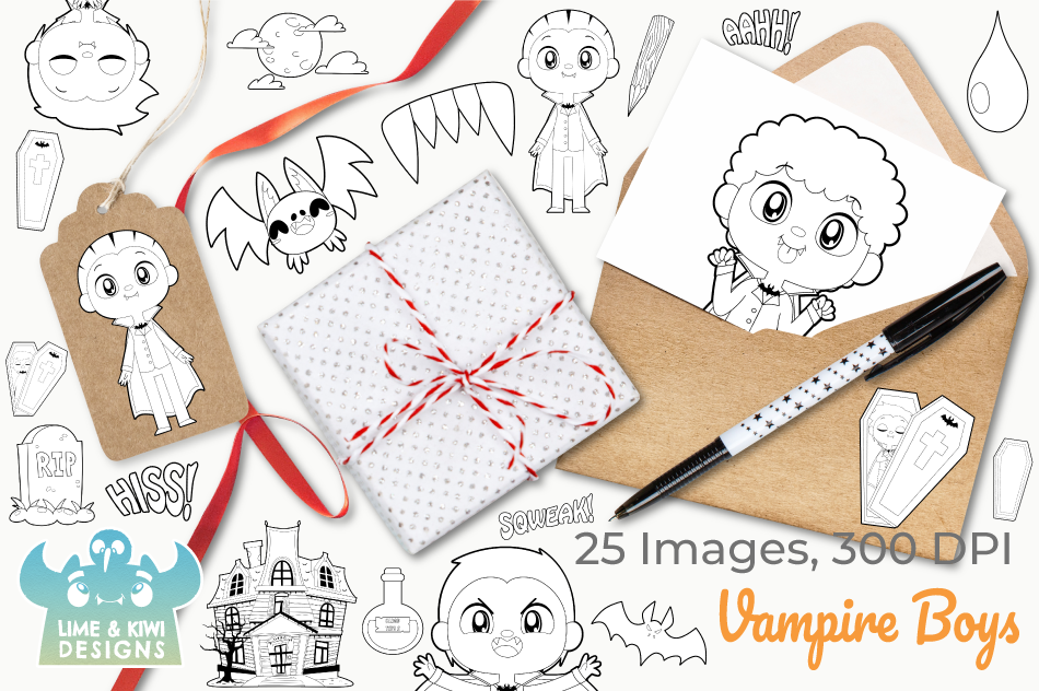 Vampire Boys Digital Stamps example image 4