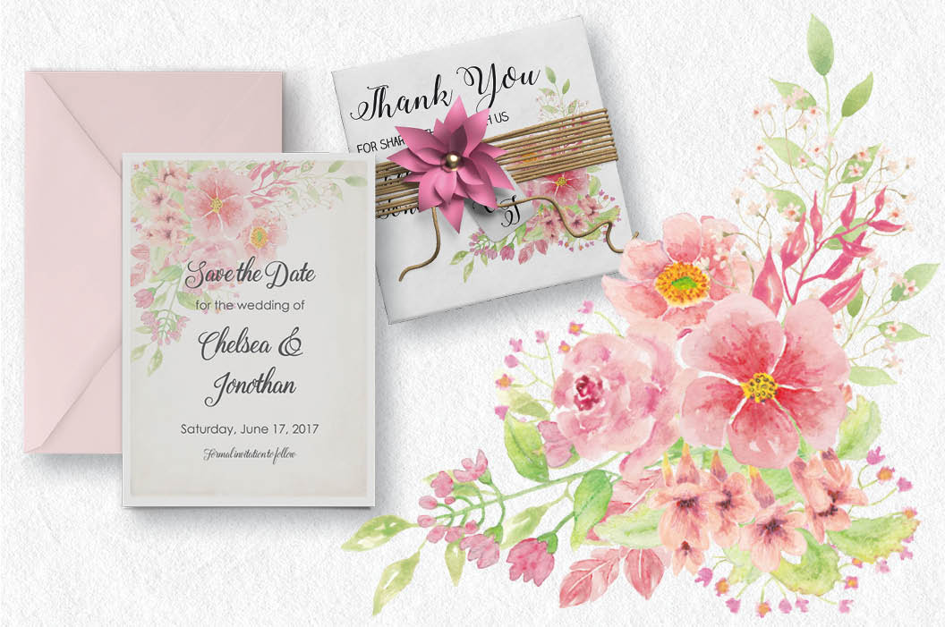 'Just Pink' sprays: watercolor floral sprays in pink tones example image 4