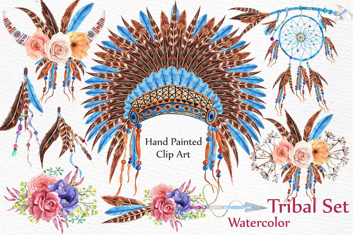 Watercolor tribal set  example image 1