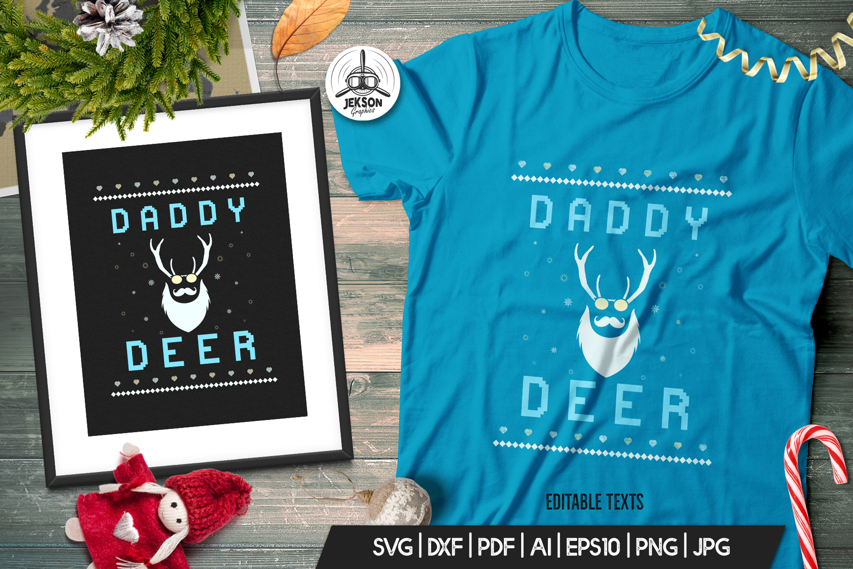 Vintage Ugly Christmas Print TShirt Design, Deer SVG File example image 1