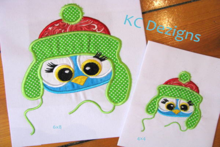 Christmas Critter Owl Machine Applique Embroidery Design example image 1