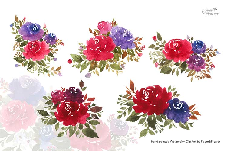 Maroon Rose Floral Watercolor Bouquet Set example image 3