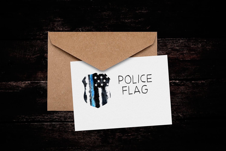 Police flag USA. Watercolor. example image 4