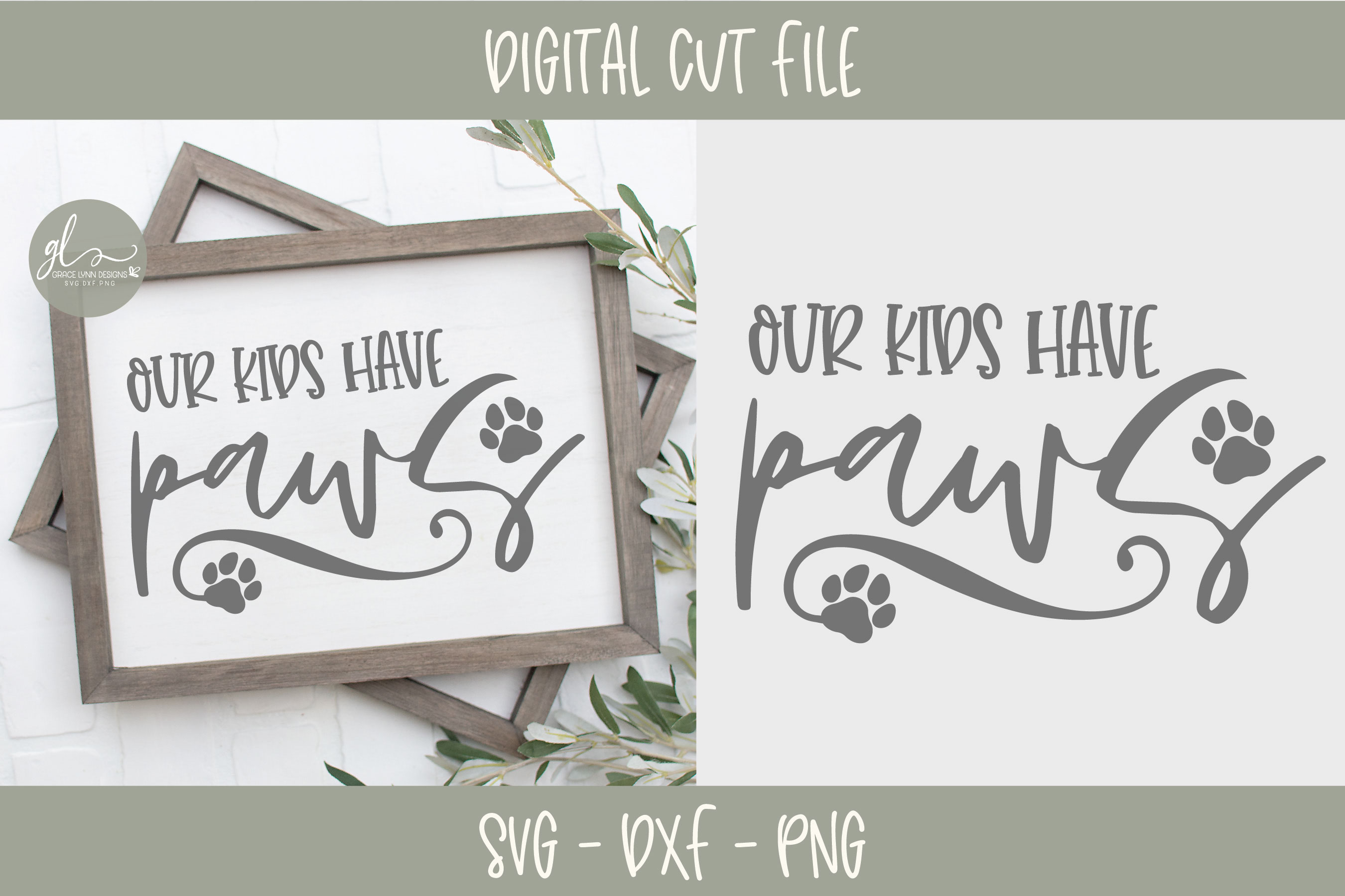 Our Kids Have Paws - SVG example image 1