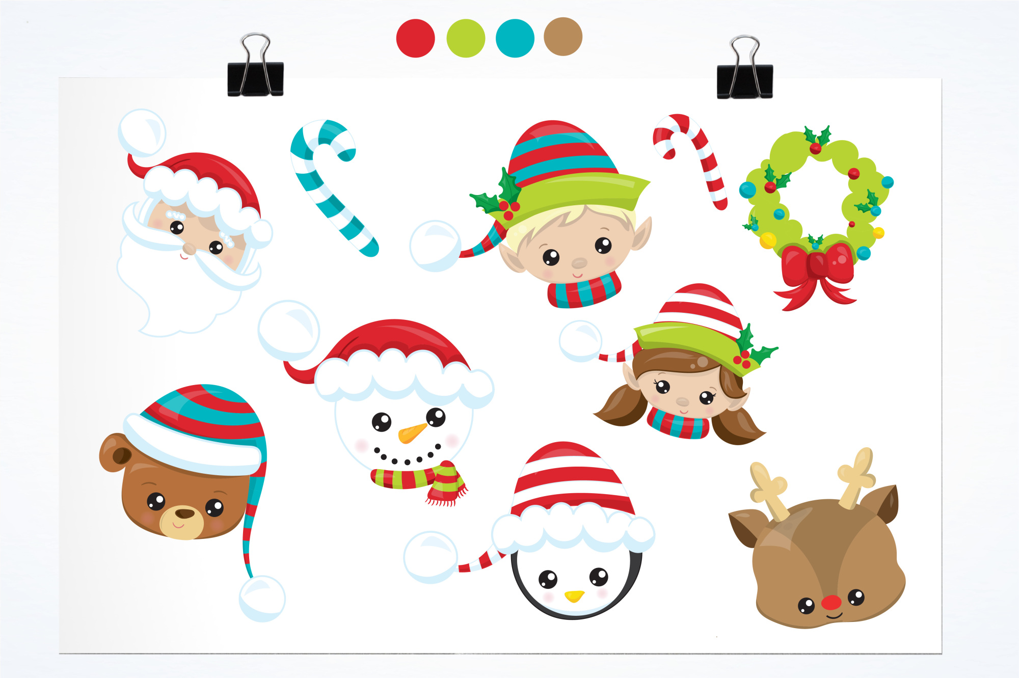 Christmas Faces graphics and illustrations example image 2