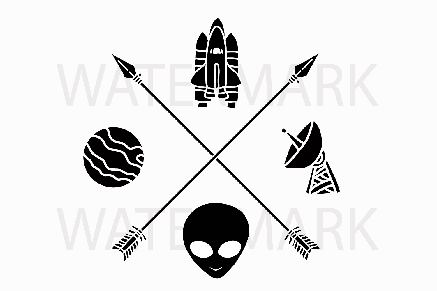 Two Arrow with Spaceship Planet Radio Station and Alien head - SVG/JPG/PNG Hand Drawing example image 1