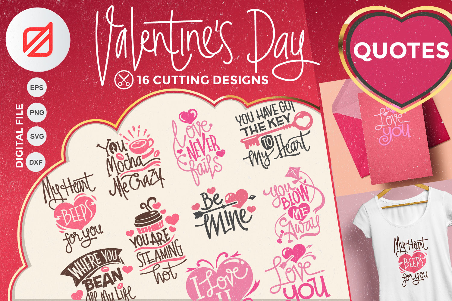 Valentine's Day Quotes Collection Cutting File example image 1