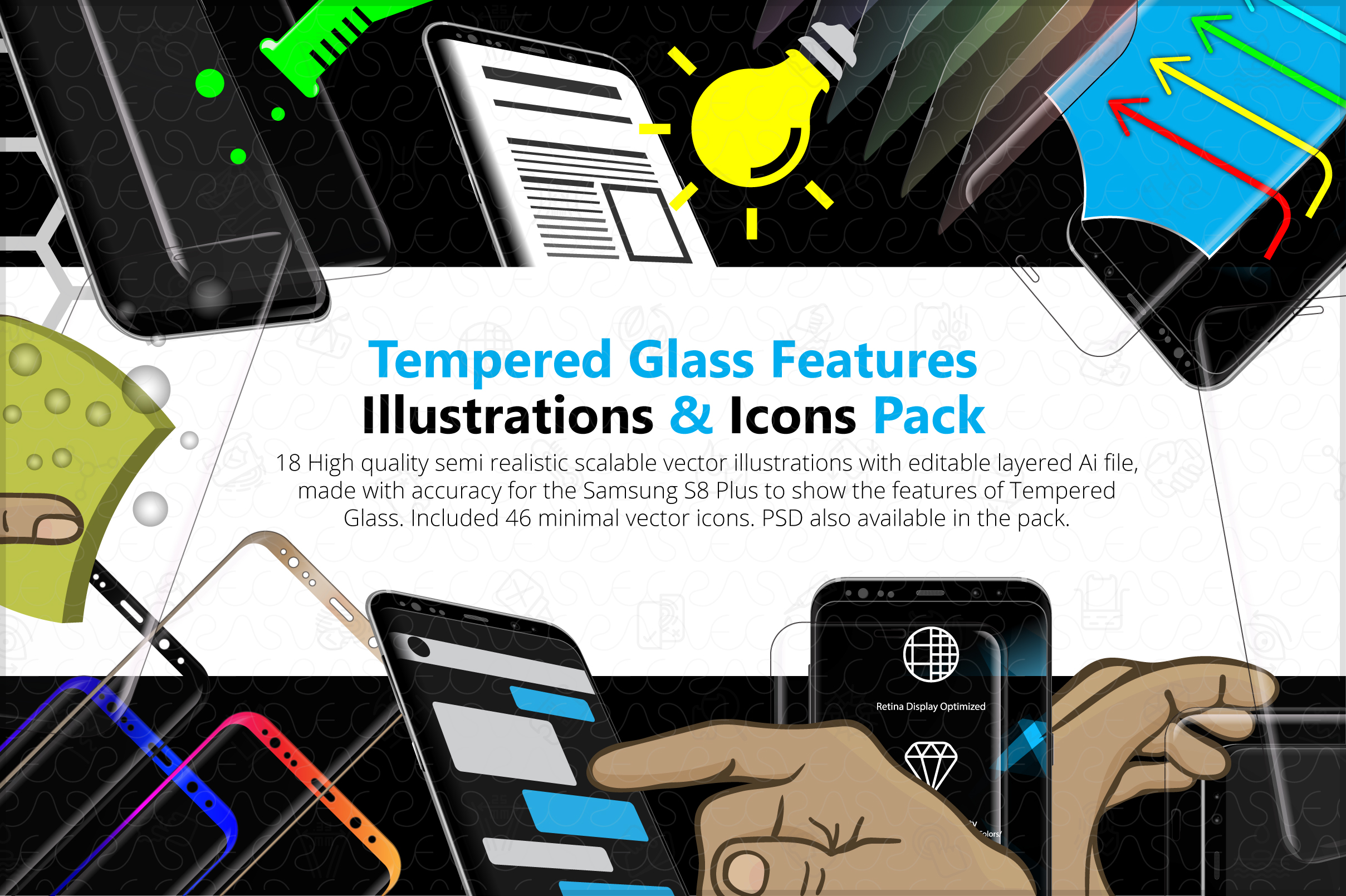 Tempered Glass Features Illustrations & Icons Pack example image 1