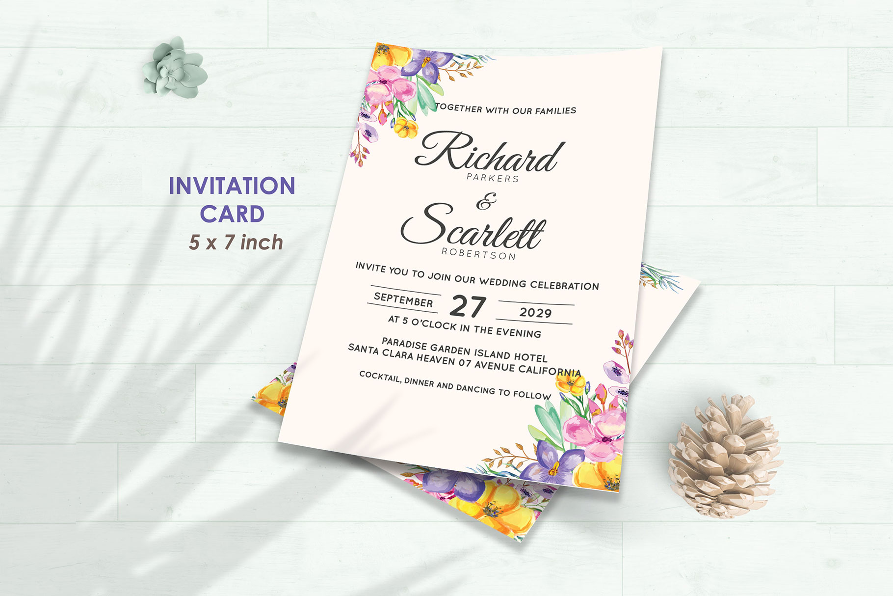 Wedding Invitation Set #1 Watercolor Floral Flower Style example image 2