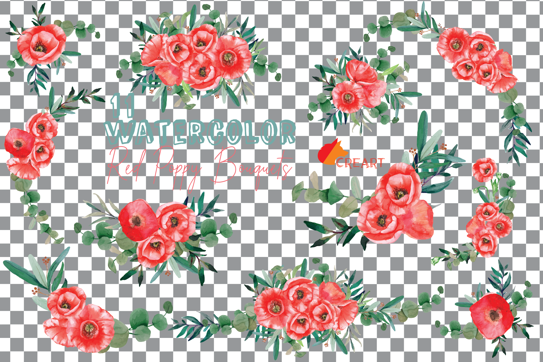 Red poppies floral watercolor wedding bouquets, floral decor example image 13