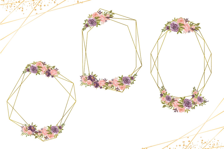 Geometric Gold Frames, Floral Crystal Frames, Pink Frames example image 3