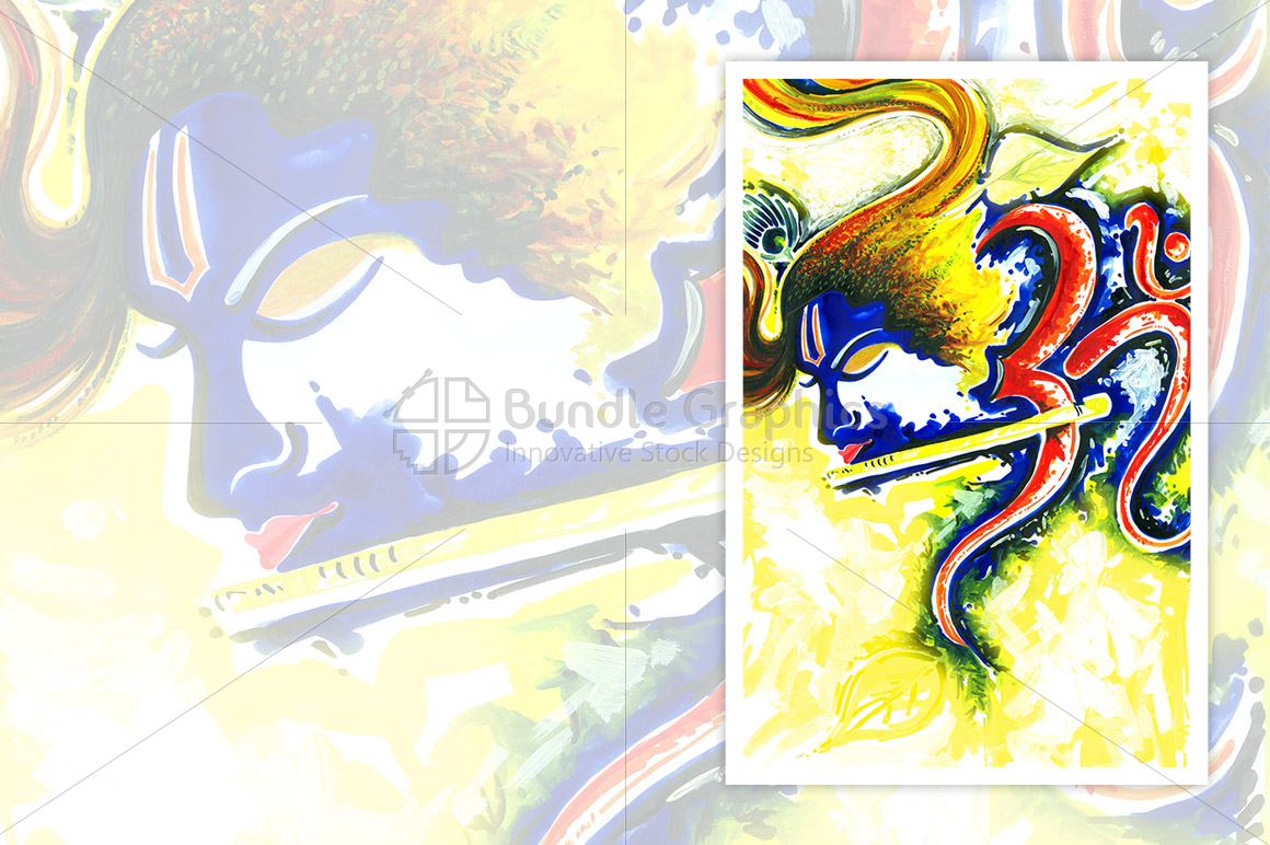 Lord Krishna with Flute - Abstract Painting example image 1