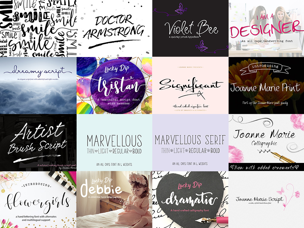 Joanne Marie 60 Font Bundle example image 2