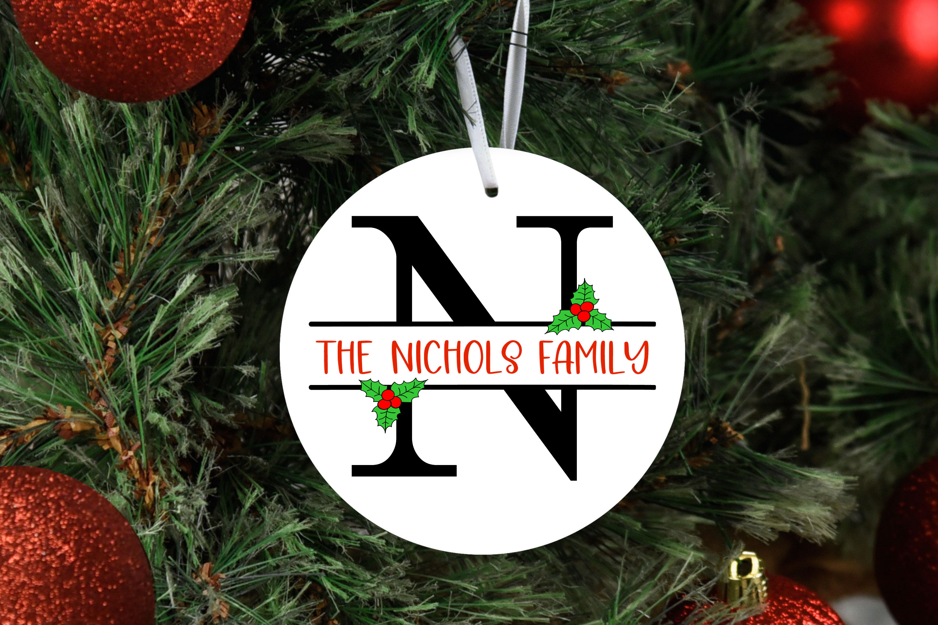 Split Letters A-Z - 26 Christmas split monograms with holly example image 3