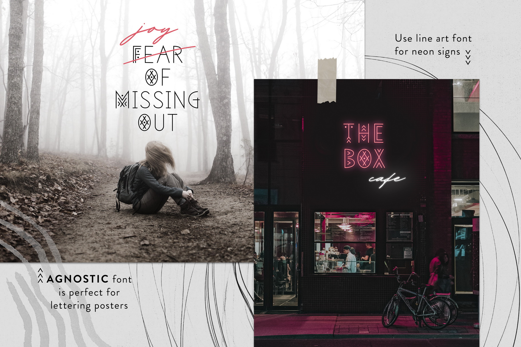 Thin Line Font Bundle 6 in 1 example image 13