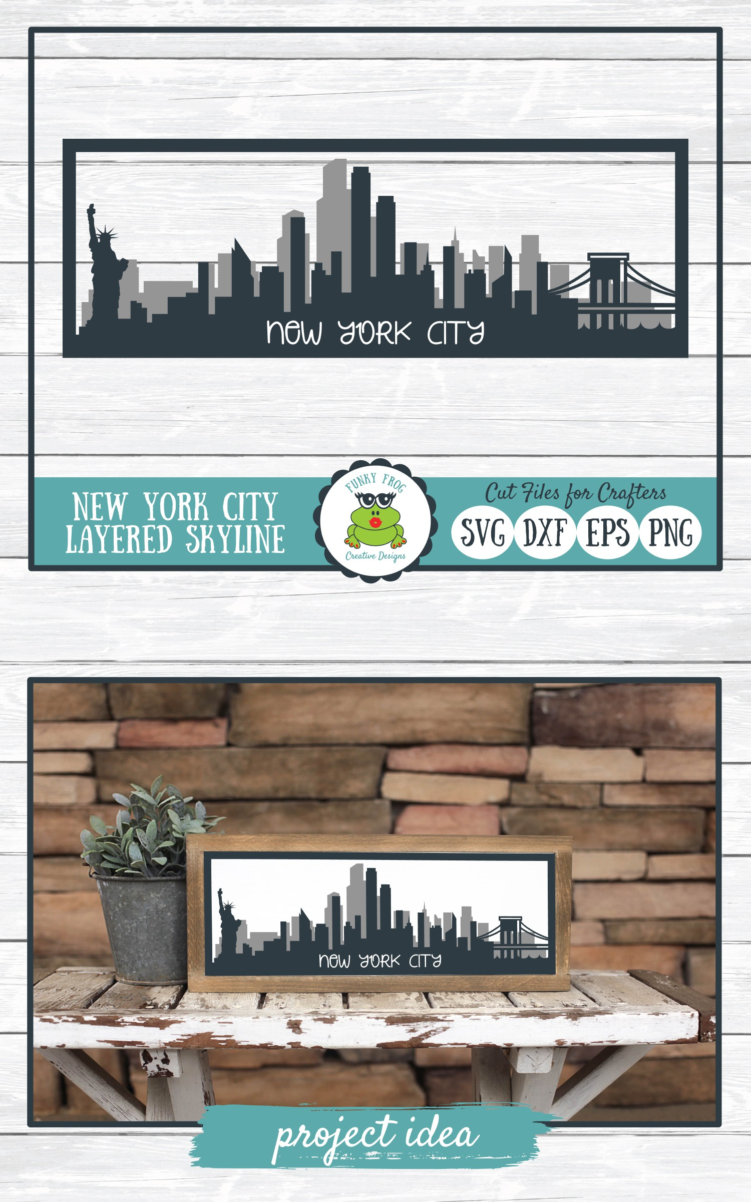 New York City Layered Skyline SVG Cut File for Crafters example image 5