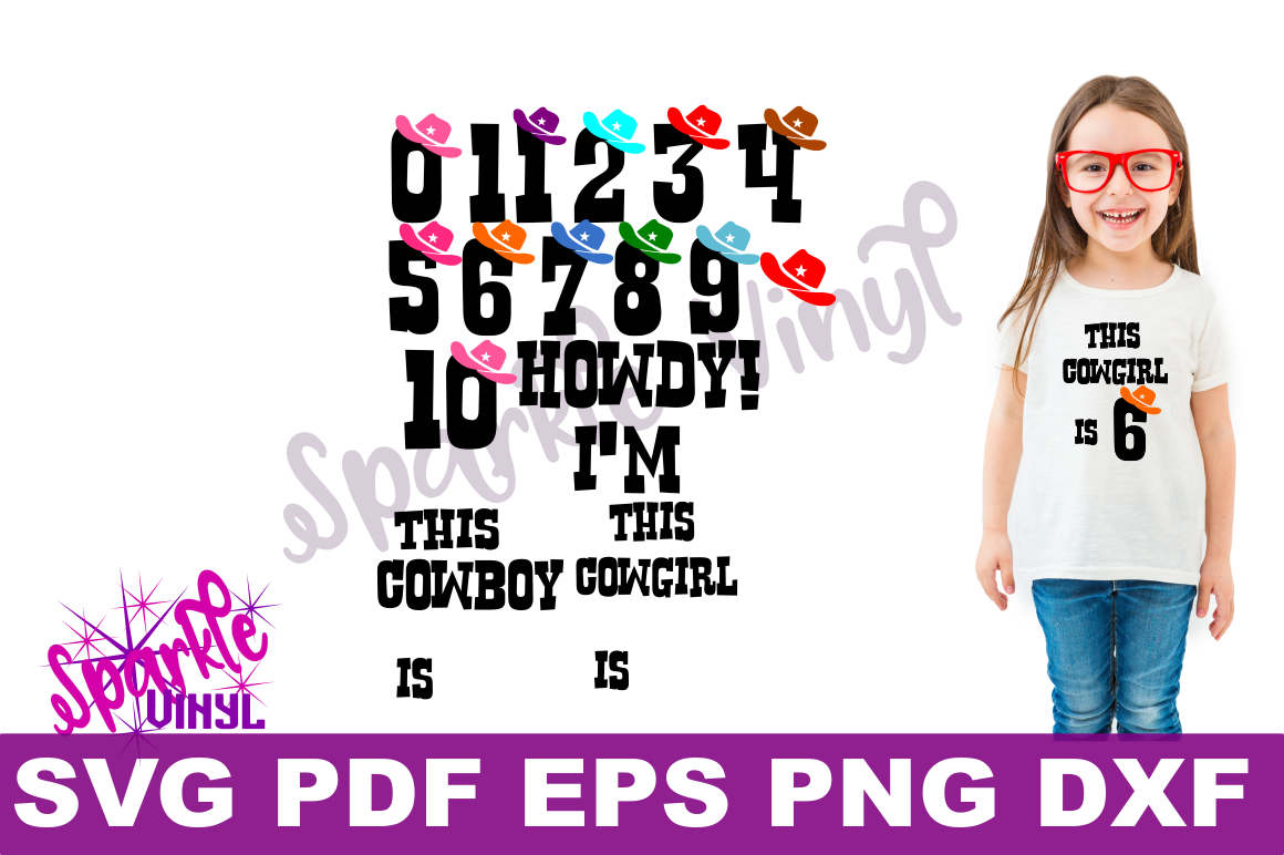 SVG Cowboy Cowgirl Birthday Party Age Numbers svg cut files for cricut or silhouette, Use Png files to create a printable, Western Numbers example image 1