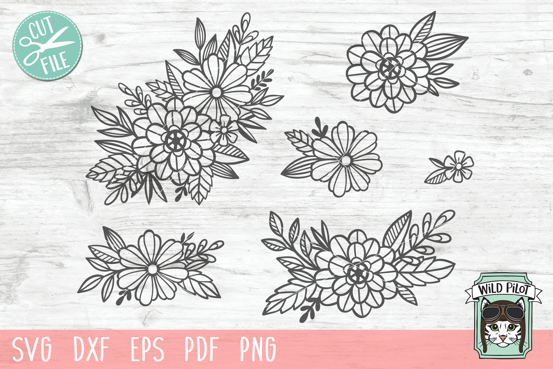 Flowers SVG file, Floral cut file, Flower Accent, Bundle example image 1