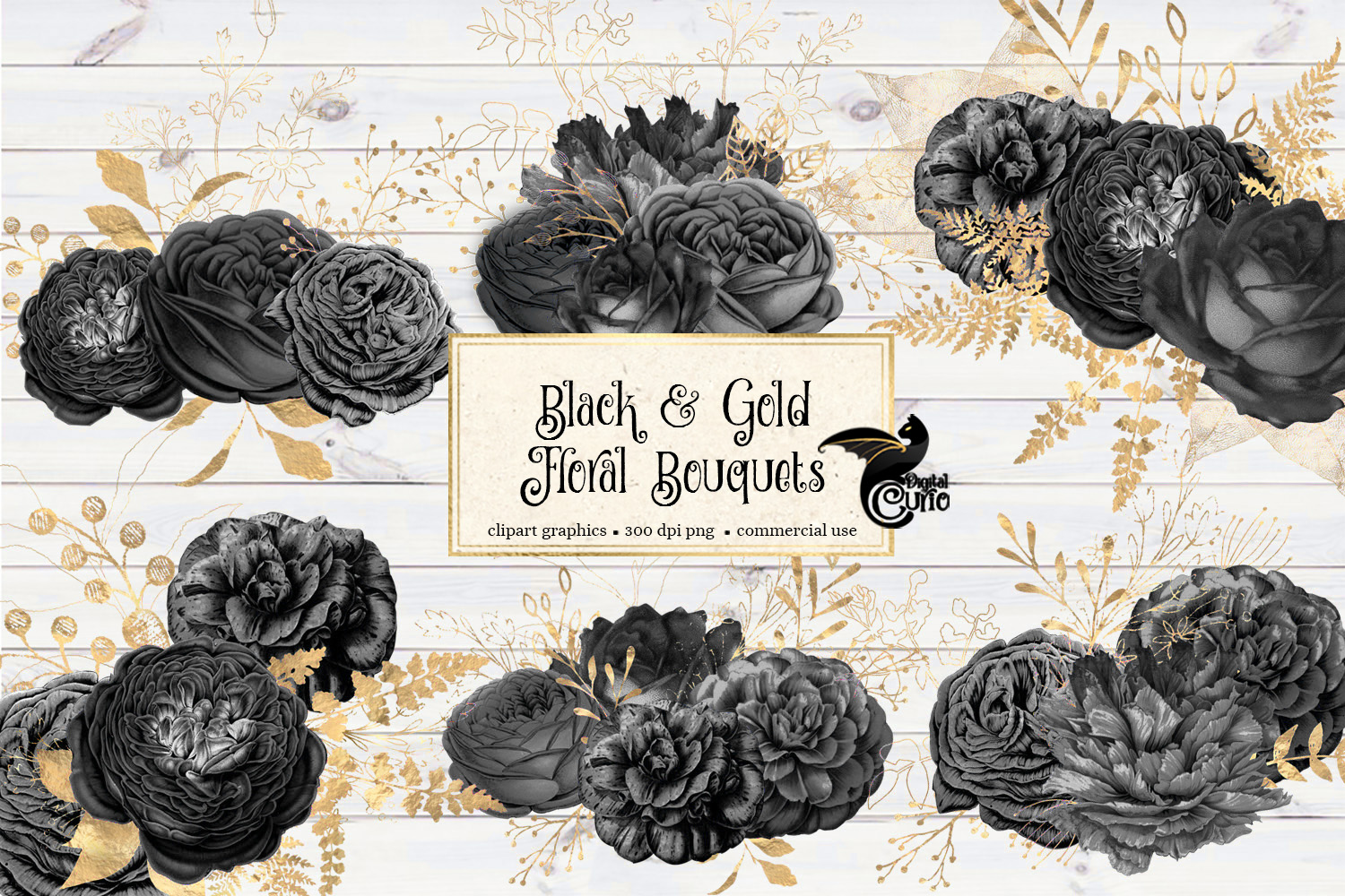 Black and Gold Floral Clipart example image 2