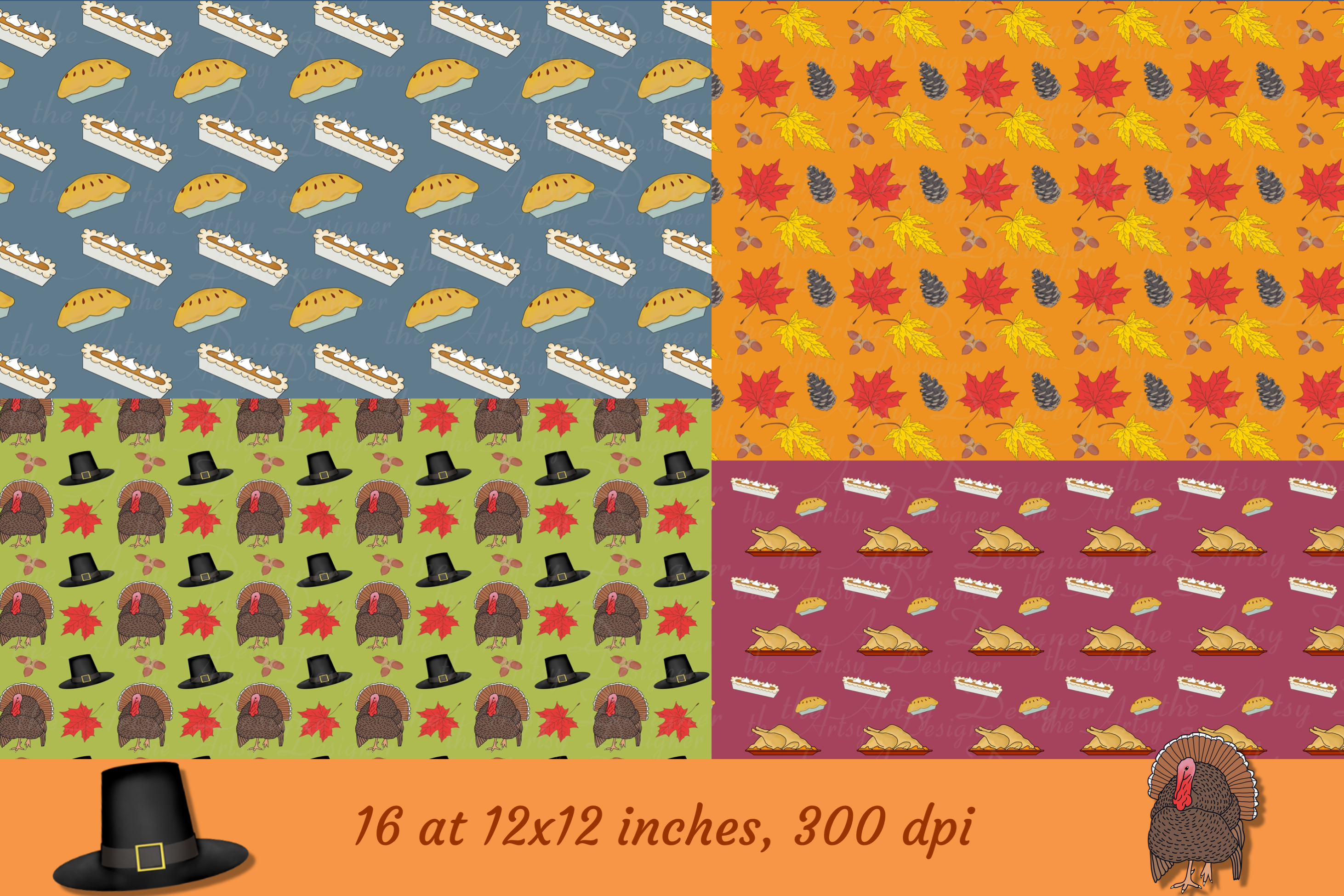 Thanksgiving Fall Patterns Digital Papers Backgrounds Bundle example image 2