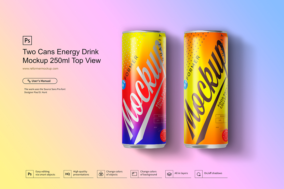 Two Cans Energy Drink Mockup 250ml Top View example image 3